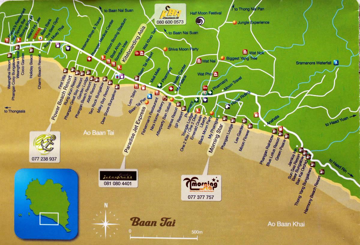 Baan Tai And Baan Kai Hotels On Map Koh Phangan Hotels